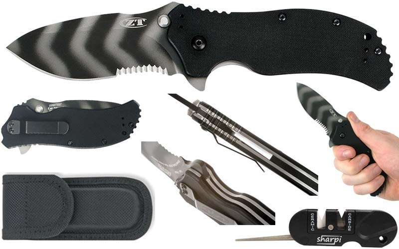 best military pocket knife - Zero Tolerance ZT0350TSST Tiger Striped Partial Serrated Tactical Pocket Knife